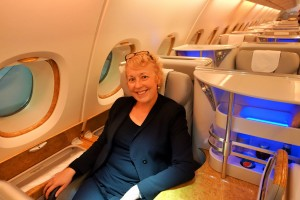 Jo Karnaghan sitting Emirates Business Class A380